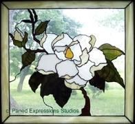 Custom architectural floral stained glass, etched glass windows