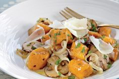 Sweet Potato Gnocchi in Mushroom Butter Sauce  ~This is SOOO good.  We made a double batch and froze half for future use. we subbed whole wheat for white flour, and did not add nutmeg as it was already sweet. we made this sauce but this dish would go with anything!