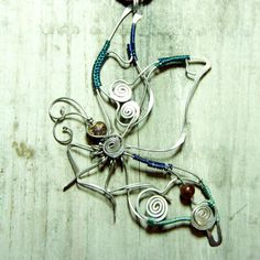 butterfly pendant  wire art jewelry  wire by raizesimaginarias