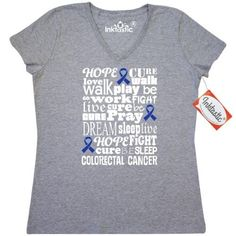 Inktastic Colorectal Cancer Awareness Colon Cancer Women's V-Neck T-Shirt Ribbon Blue Support Walk Month Event Product Clothing March Brown Apparel Tees Adult Hws, Size: Large, Grey
