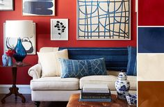Pairing lush indigo blues—vintage dyed textiles, chinoiserie ceramics, and fluid abstract paintings—with deep red walls, this space has a cool, high-contrast look.