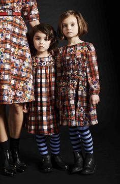 Gorgeous flower embroidered plaid dresses from Preen and  Preen Mini for winter 2015 fashion for kids and women