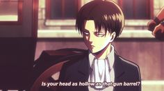"""I got Captain Levi! Which """"Attack On Titan"""" Character Are You? You're a leader who expects the very best from those around you. You're flawless on every level and expect that from everyone else. You're hard on people, but that's because you KNOW they can do better. You're a big believer in tough love and you apply it liberally. We need more people like you."""