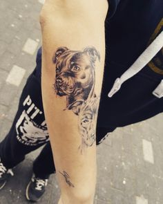 Pitbull tattoo dog portret