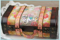 Always Carry Joy with you altered suitcase Tammy Tutterow