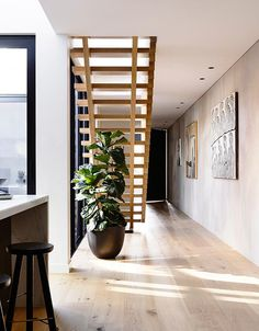 One more from InForm Design , a townhouse, one of three in a row. Contemporary Australian desig... Colorado Cabins, Hallway Inspiration, Cabins In The Woods, Wood Design, Mountain Homes, Interior Styling, Townhouse, Foyer, Architecture Design