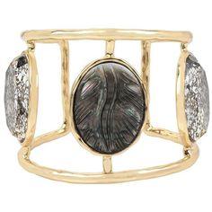 Betsey Johnson Skeletons After Dark Goldtone Cameo Wide Cuff Bracelet ($95) ❤ liked on Polyvore featuring jewelry, bracelets, gold, wide cuff bracelet, gold tone bangles, goldtone jewelry, cuff bracelet and betsey johnson jewelry