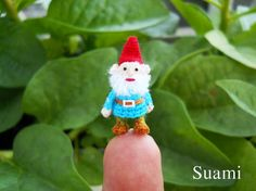Micro Gnome Doll  Tiny Miniature Crocheted Gnomes  Made by SuAmi, $85.00