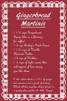 Gingerbread martinis