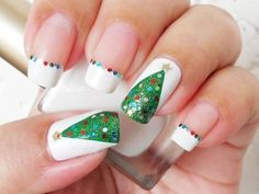 I am presenting before you easy Christmas tree nail art designs and ideas of These Xmas nails are so impressive and stunning that one can't resist the temptation of applying them in first go. Christmas Tree Nail Art, Christmas Nail Art Designs, Holiday Nail Art, Christmas Trees, Christmas Decorations, Simple Christmas, Green Christmas, Christmas Design, Xmas Tree