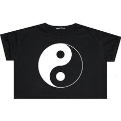 Ying Yang Crop Top T Shirt Tee Womens Girl Funny Fun Tumblr Hipster... ($14) ❤ liked on Polyvore featuring tops, shirts, crop tops, goth, black, sweater vests, sweaters, women's clothing, loose tops and cropped sweater vest