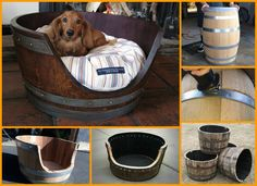 Here's a dog bed made from a recycled wooden barrel, and looks solid enough to survive a life time. Learn how they made it by viewing the gallery of the project at http://theownerbuildernetwork.co/yi79