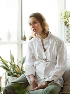 Marina Munoz, white shirt, green pants / Garance Doré