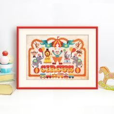 The Circus has come to town! Come celebrate with clowns, elephants, swinging monkeys and much more! This great mid size pattern would be a great addition to a little ones room. It features just whole stitches and a little bit of backstitch so perfect for beginners and experienced