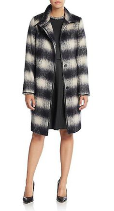 Les Copains | Plaid Leather-Trimmed Coat | SAKS OFF 5TH