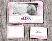 Fun Personalized Baby Announcement with matching thank you cards and envelopes. Love Gingham you will love this! https://www.etsy.com/shop/DesignsByDanaV designsbydanav@gmail.com
