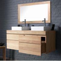 Idée design : ce meuble de salle de bain en teck à marier avec un joli béton ciré