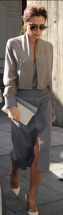 Who made  Victoria Beckhams gray skirt, clutch handbag, tan top, and pumps that she wore in London?