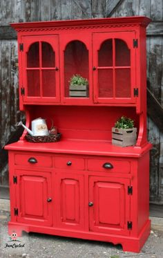 I love our upcycled red hutch! I love our upcycled red hutch! Red Painted Furniture, Blue Furniture, Distressed Furniture, Refurbished Furniture, Colorful Furniture, Paint Furniture, Repurposed Furniture, Kitchen Furniture, Rustic Furniture