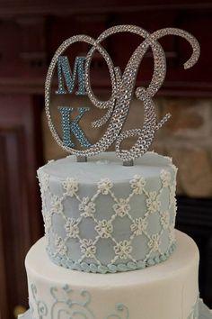 FREE SHIPPING - Swarovski Crystal Monogram Cake Topper Any Letter A B C D E F G H I J K L M N O P Q R S T U V W X Y Z