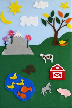 DIY simple felt board with mountain, tree, sun, moon, pond and barn. By Calm Cradle Photo & Design