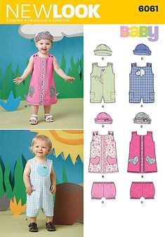 UNCUT New Look 6061 Baby Romper, Dress, Panties and Hat Sewing Pattern for boys and girls. New Look Patterns, Hat Patterns To Sew, Baby Dress Patterns, Baby Clothes Patterns, Clothing Patterns, Sewing Paterns, Kids Patterns, Vintage Patterns, Kids Clothing