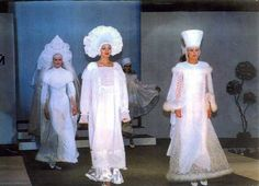"""Collection """"Rus wedding"""" 1994. Wedding costumes stylized based on folk Russian costumes, hand embroidery. Photo from the Gala-show at the II week of the Russian Fashion in Moscow. Also the collection is a participant and prize-winner of the Toulon Fair in France 1995"""