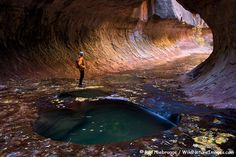 'A hiker at the Subway, Zion National Park, Utah' - photo by Ron Niebrugge;  The Subway is a narrow section of the slot canyon along the Left Fork of North Creek in Zion National Park, Utah.