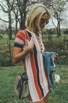Sweater Dress Lace Up Boho Striped