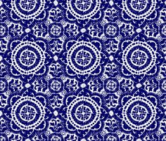 mexican block print fabric by marcador for sale on Spoonflower - custom fabric, wallpaper and wall decals Tostadas, Wall Patterns, Print Patterns, Mexican Fabric, Mexican Tiles, Aztec Fabric, Blue Fabric, Blue And White Wallpaper, Mexican Pattern