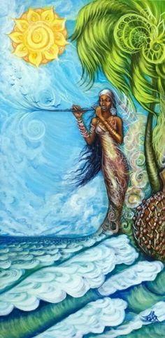 Beautiful painting of a Black Mermaid