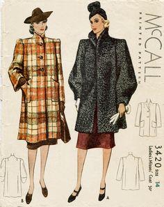 Vintage Sewing Pattern 30 années 1930 s Robe Manteau, Robe De Rêve, Garde  Robe ef8d893f796