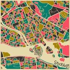Stockholm MAP Art Print by Jazzberry Blue Stockholm Map, Stockholm Sweden, Visit Stockholm, Gravure Illustration, Illustration Art, Wall Art Prints, Fine Art Prints, Stoff Design, Colorful Abstract Art