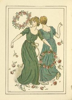 Two women dancing. By Kate Greenaway.  From Kate Greenaway's Almanack for 1892.