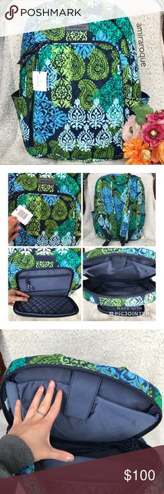 Vera Bradley Laptop✨🆕 Brand new with tags! Has two bottle holders. Measures to be 15x18 inches. This is a discontinued print called Caribbean Sea. Purchased from the Vera Bradley store, not outlets! Has many compartments, and is very lightweight. This has a laptop holder thag hae a velcro strap to keep in place. Vera Bradley Bags Backpacks Vera Bradley Laptop Backpack, Laptop Brands, Backpack Brands, Caribbean Sea, Bottle Holders, Velcro Straps, Outlets, Fashion Design, Fashion Tips