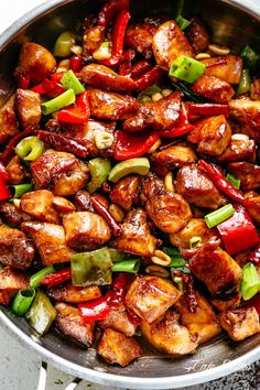 Kung Pao Chickenis highly addictive stir-fried chicken with the perfect combination of salty, sweet and spicy flavour! Make it better than Chinese take out right at home! With crisp-tender chicken pieces and some crunchy veggies thrown in, this is one Kung Pao chicken recipe hard to pass up!