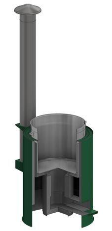Cutaway CAD view of InStove rocket stove model