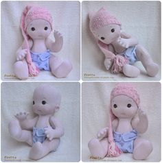 """Textile Baby Doll 07/12. 16""""/40.6 cm. All Natural Soft Sculptured Jointed Baby.. $108.00, via Etsy."""
