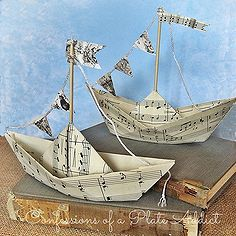 summery sheet music sailboats, diy home crafts, Summery fun with a vintage touch