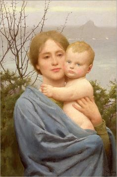 Thomas Cooper Gotch - The Madonna of the Mount, 1926 - England.Gotch was a member of the Pre-Raphaelite Brotherwood. Dante Gabriel Rossetti, Mother Mary, Mother And Child, John Everett Millais, St Michael's Mount, Images Of Mary, Morris, Holy Mary, Thing 1