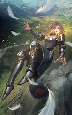 f Paladin Plate Armor Falling Story Hills valley farmland river twin lg Fantasy Warrior, Fantasy Girl, Warrior Concept Art, Angel Warrior, Fantasy Character Design, Character Concept, Character Art, Art Manga, Art Anime