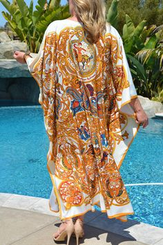 Items similar to White & Gold Designer Print Silk Caftan Womens Silk Kaftan Full Length Silk Caftan Silk Beach Coverup Long Silk Dress Loungewear Plus Size on Etsy Silk Kaftan, Silk Dress, Dress Up, Unique Resume, Pool Wear, Truck Bed, French Riviera, Bed Storage, Print Design