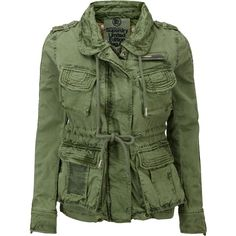 Superdry Flag Jacket ($185) ❤ liked on Polyvore featuring outerwear, jackets, coats, coats & jackets, khaki, women, green military style jacket, military jacket, khaki army jacket and zip jacket