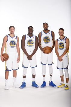 bd6fdeb11 Klay Thompson Draymond Green Kevin Durant and Stephen Curry of the Golden  State Warriors pose for a portrait during media day on September 22 2017 at.