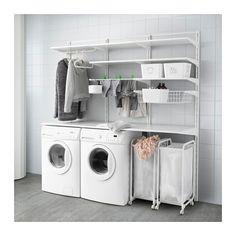 New white closet small laundry rooms 62 Ideas Ikea Laundry Room, Small Laundry Rooms, Small Closets, Laundry Room Organization, Laundry Room Design, Ikea Algot, Ikea Closet System, Small Utility Room, White Closet