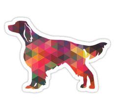 """Irish Red and White Setter Dog Breed Geometric Pattern Silhouette - Multi"" Stickers by TriPodDogDesign | Redbubble"