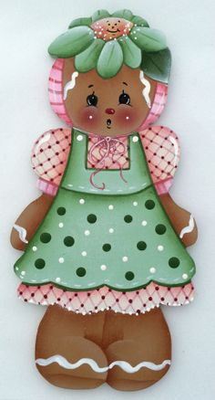HP GINGERBREAD FRIDGE MAGNET in a green dress