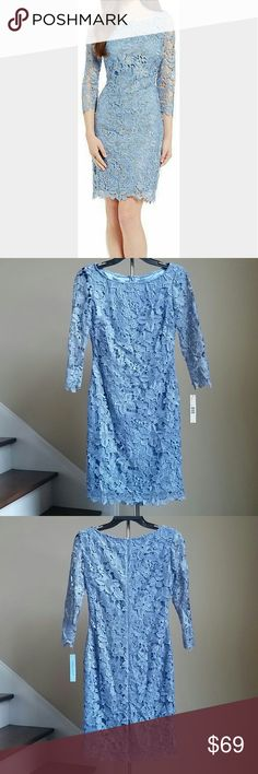 🚨Last One🚨 Antonio Melani Lace Dress Absolutely gorgeous lace dress from Antonio Melani. Fratures 3/4 lace sleeves, concealed back zipper closure, scalloped lace hem line. Lined. Shell 100% Polyester.  Lining 97% Polyester, 3% Spandex. 🚨Price Firm!🚨 ANTONIO MELANI Dresses