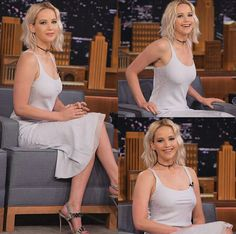 On a talk show, talking about her latest book. Jennifer Laurence, Jennifer Lawrence Hot, Manequin, Blonde Babies, Beauty Full, Woman Crush, Hollywood Actresses, Cheryl, Beautiful Actresses