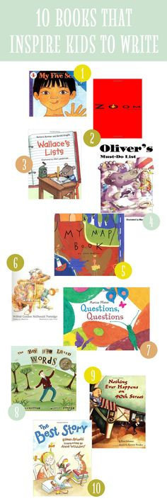 10 Picture Books That Inspire Kids to Write -- with short descriptions of how and why.  Now I want to read My Map Book!